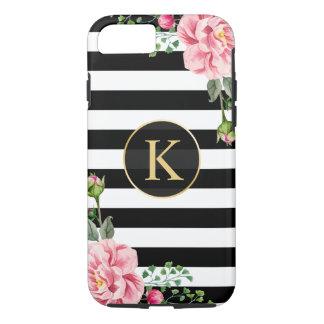 ヴィンテージのストライプのな花のモノグラムの白黒 iPhone 7ケース