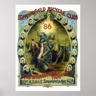 ヴィンテージのスプリングフィールドの自転車クラブ広告 ポスター