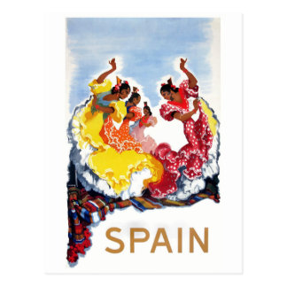 ヴィンテージのスペインのフラメンコのダンサー旅行ポスター ポストカード