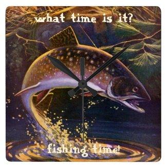 ヴィンテージのスポーツのマスの魚釣り; 捕獲物および解放 クロック