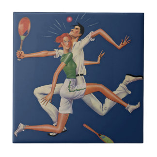 ヴィンテージのスポーツ、ラケットとのテニス選手の衝突 タイル