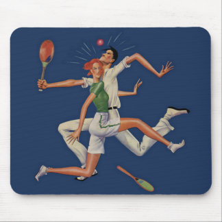 ヴィンテージのスポーツ、ラケットとのテニス選手の衝突 マウスパッド