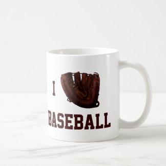 ヴィンテージのスポーツ、私は野球、Iの手袋の野球を愛します コーヒーマグカップ