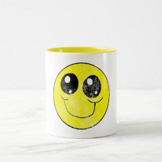 ヴィンテージのスマイリーフェイス ツートーンマグカップ