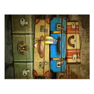 ヴィンテージのスーツケース ポストカード