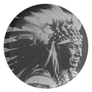 ヴィンテージのスー族の主で白い白鳥 プレート