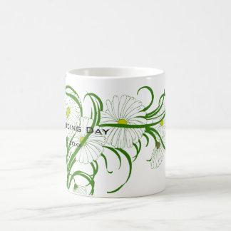 ヴィンテージのセットを結婚する白いガーベラのデイジーの花 コーヒーマグカップ
