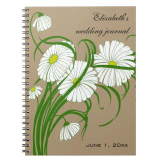 ヴィンテージのセットを結婚する白いガーベラのデイジーの花 ノートブック