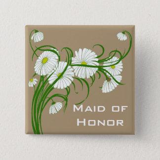 ヴィンテージのセットを結婚する白いガーベラのデイジーの花 5.1CM 正方形バッジ