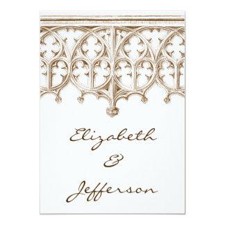 ヴィンテージのセピア色のカテドラルの結婚式招待状 カード
