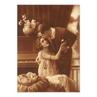 ヴィンテージのセピア色の婚約のブランクのパーティーの発表 12.7 X 17.8 インビテーションカード