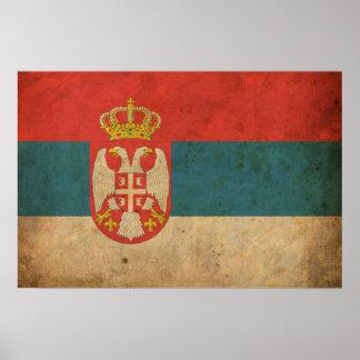ヴィンテージのセルビアの旗 ポスター