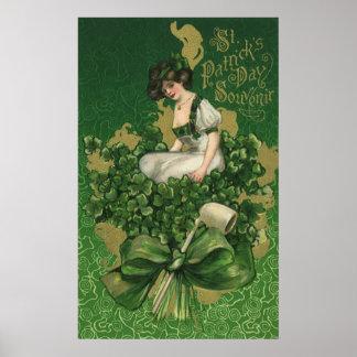 ヴィンテージのセントパトリックの日の記念品、アイルランドの少女 ポスター