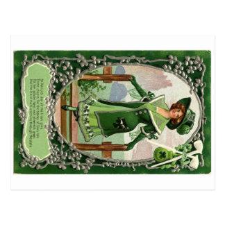 ヴィンテージのセントパトリックの日女の子 ポストカード