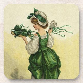 ヴィンテージのセントパトリックの日、女性の緑のシャムロック コースター