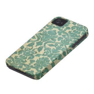 ヴィンテージのセージグリーンのダマスク織 Case-Mate iPhone 4 ケース