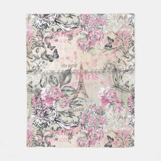 ヴィンテージのタイプエラーの黒のピンクの花のパリエッフェル塔 フリースブランケット