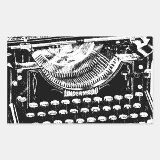 ヴィンテージのタイプライターのイラストレーション 長方形シール