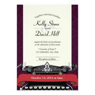 ヴィンテージのタイプライターのダマスク織の結婚式招待状 カード