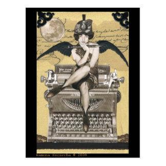 ヴィンテージのタイプライターの妖精 ポストカード