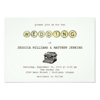ヴィンテージのタイプライターの結婚式招待状 カード