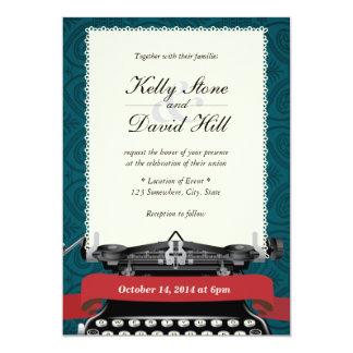 ヴィンテージのタイプライターの緑のダマスク織の結婚式招待状 カード