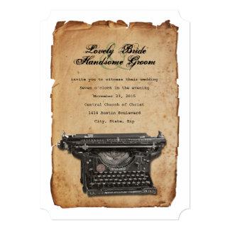 ヴィンテージのタイプライターの羊皮紙の結婚式招待状 カード