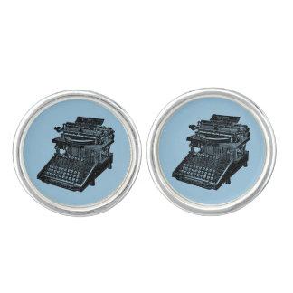ヴィンテージのタイプライターの青いカフスボタン カフリンク