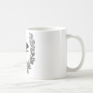 ヴィンテージのタイポグラフィのデザインの鳩及びリースの鳥 コーヒーマグカップ