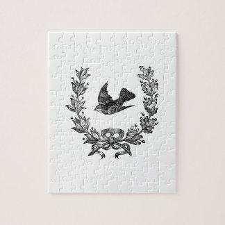 ヴィンテージのタイポグラフィのデザインの鳩及びリースの鳥 ジグソーパズル