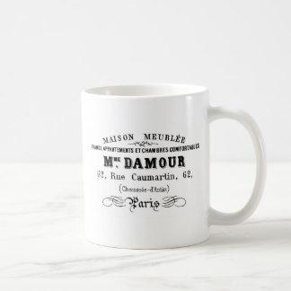 ヴィンテージのタイポグラフィのデザインM'Damour コーヒーマグカップ