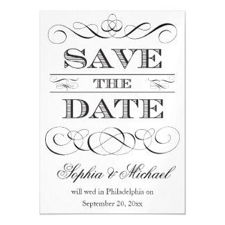 ヴィンテージのタイポグラフィの保存日付の結婚式 マグネットカード