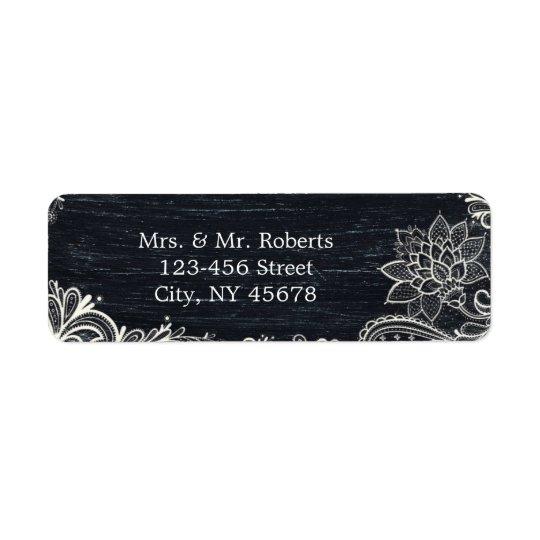 ヴィンテージのタイポグラフィの素朴な結婚式の黒板 返信用宛名ラベル