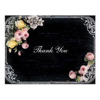 ヴィンテージのタイポグラフィの黒板の結婚式は感謝していしています ポストカード