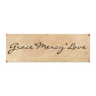 ヴィンテージのタイポグラフィ: 優美、慈悲、愛 キャンバスプリント