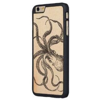ヴィンテージのタコの海洋動物の科学的な絵 CarvedメープルiPhone 6 PLUS スリムケース