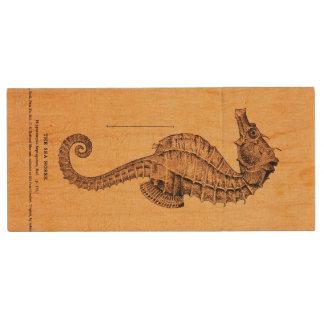 ヴィンテージのタツノオトシゴの絵 木製 USB メモリ