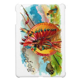 ヴィンテージのタバコ入れのインド赤の羽のラベル iPad MINIケース
