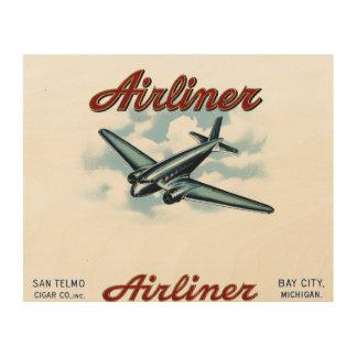 ヴィンテージのタバコ入れのラベルの定期旅客機の30年代 ウッドウォールアート