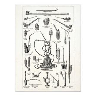 ヴィンテージのタバコ管および古い水ぎせるのイラストレーション フォトプリント