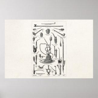 ヴィンテージのタバコ管および古い水ぎせるのイラストレーション ポスター
