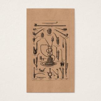 ヴィンテージのタバコ管および古い水ぎせるのイラストレーション 名刺