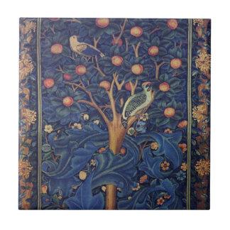 ヴィンテージのタペストリーの鳥の花柄のキツツキ タイル
