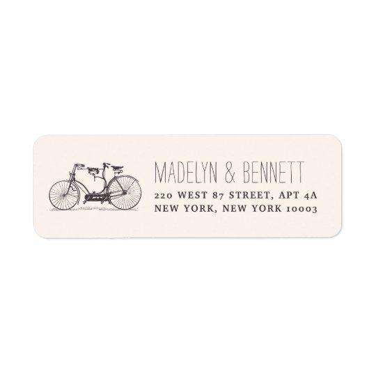 ヴィンテージのタンデム自転車の差出人住所 返信用宛名ラベル