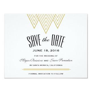 ヴィンテージのダイヤモンドの黒及び金ゴールドの保存日付 10.8 X 14 インビテーションカード