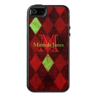 ヴィンテージのダイヤモンドパターン紙のモノグラム オッターボックスiPhone SE/5/5s ケース