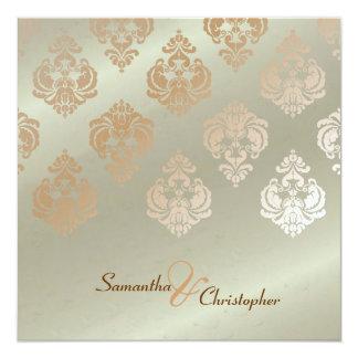 ヴィンテージのダマスク織かのどの銅の結婚式招待状 カード