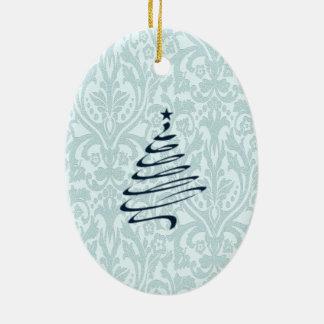 ヴィンテージのダマスク織のクリスマスツリーのモノグラム 陶器製卵型オーナメント
