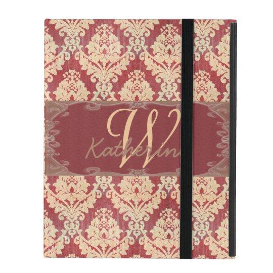 ヴィンテージのダマスク織のモノグラム iPad ケース