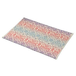 ヴィンテージのダマスク織の壁紙-青いすみれ色の赤 ランチョンマット